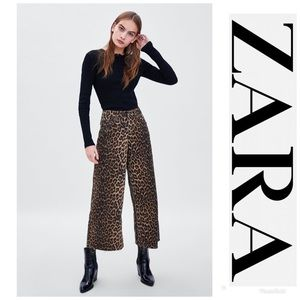 NWT ZARA TRF Collection Leopard Mid Rise Culotte 4